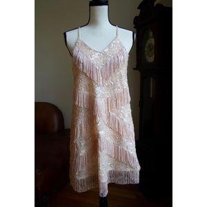 Gianni Bini sequin & fringed botanical Frost dress